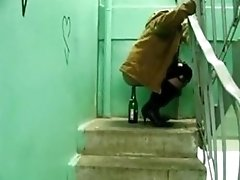 Russian Partygirl Rides A Booze Bottle On The Stairs Of Her Ghetto Apartment