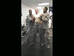 Army Girl Gets Tasered And Squeezes The Guys Balls That Is Holding Her