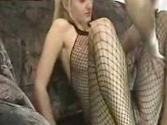 Hot blonde girlfriend in fishnet body suit