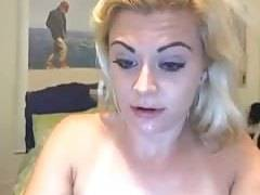 Blonde devouring a dildo on webcam