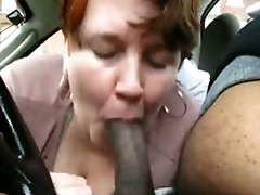 bubble butt White Milf Sucks Her ebony chick BF039s Cock In His Car And Swallows