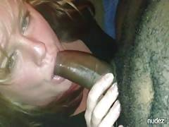 Milf sucking her black friends cock