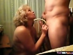 Gilf Watches Porn Masturbates And Sucks Her Husbands Cock