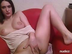 20yo fingering her twat and flashing her natural tits