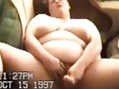 bubble butt busty white body cumshot on the couch fondles herself with a stick