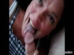 Boyfriends Cums 3x on her face in one blowjob