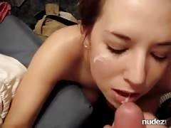 College girl takes a facial