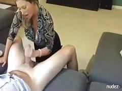 Professional couple blowjob at home
