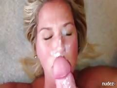 Blonde milf gets her face painted