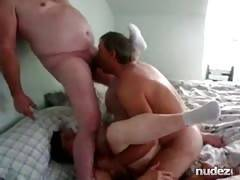 Bi man licks fiance while fucking wife