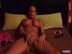 yellow-haired wife with tremendous tits rubs her pussy
