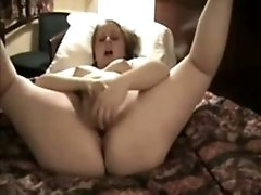chubby brunette Has Fun With Her toy porn On Her Bed