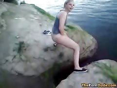 Drunk American fresh pussy Pissing In The Lake