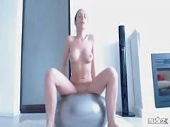 Riding cock on exercise ball til she squirts