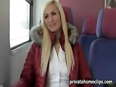 German girl has quick sex in the train