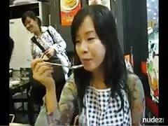 hot oriental screwed recorded on handheld camera