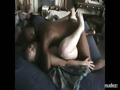 Real wife gets enormous ebony balls slapping on her