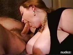 huge woman with huge boobs Gagging on dong