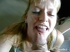 blondie milf swallows a schlong for creamy treat