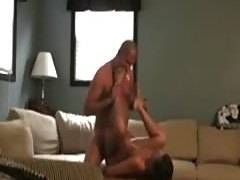 Hot milf makes a sextape with her man in the living room