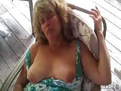 Horny cougar on the patio