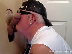 Giving Soccer Dad a Gloryhole Blowjob