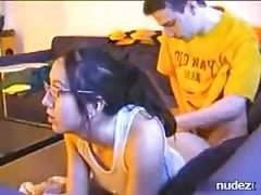 girl gets poked while playing PS3