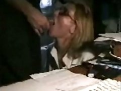 Nerdy Glassed Milf Sucks Her Mans Cock And Swallows