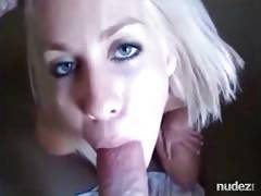 pretty smiling blond girl sucking meat and takes facial
