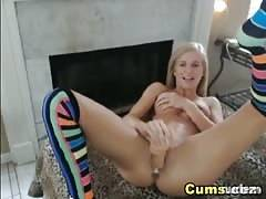 blondy girl gags and rides her monstrous dildo