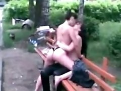 2 Russian Girls Go ass lick Crazy On A Bench In Public