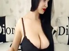 European busty sexy brunette milf teases me on dirty chat in hot dress