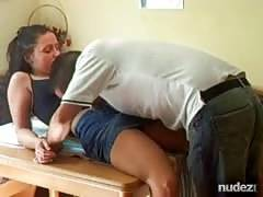 Teen fucked hard on the kitchen table