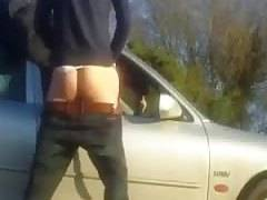 Dogging in the car in nature bareback doggystyle fuck