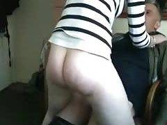 Cowgirl quickie with the kitchen sex on hidden cam