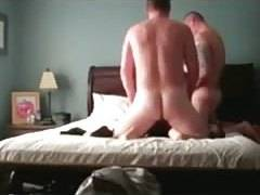 Cuckold jerks off while he watches a stranger fuck his kitchen sex