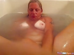 old women fucking Woman Plays With Herself And Jerks Her Mans Cock Simultaneously In The Bathtub