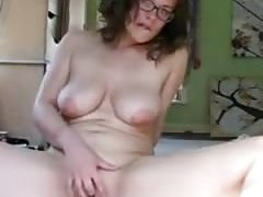 Cutie in glasses masturbates