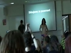 Student Does A Striptease For Her Presentation In Class