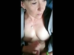 Sex With A Bored Cougar She Jerks Me To A Tit cumshot