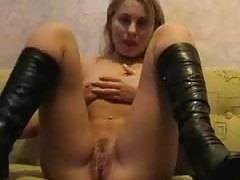 sexy blondie chick masturbating