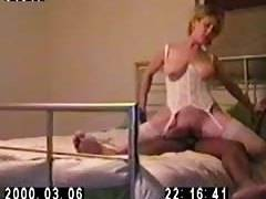 monstrous Titty blonde wifey riding in sex lingerie (no audio)