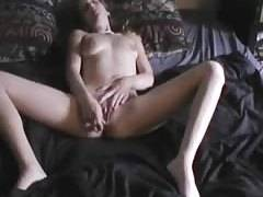attractive college girlfriend plays with her snatch before meat